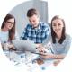 Lerngruppe arbeitet mit digitalen Medien